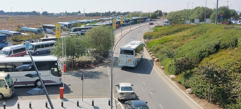 The exact point where the buses depart from Larnaca airport to Paphos