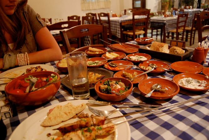 Cyprus Meze served at a restaurant in Paphos